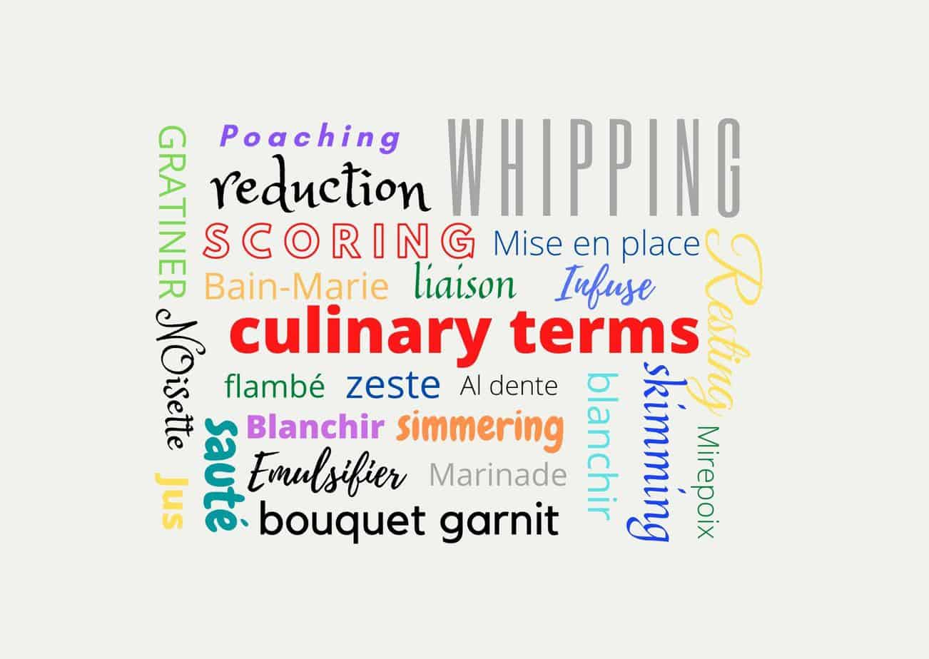 culinary terms light background