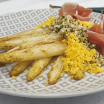 Pan roasted white asparagus à la flamande