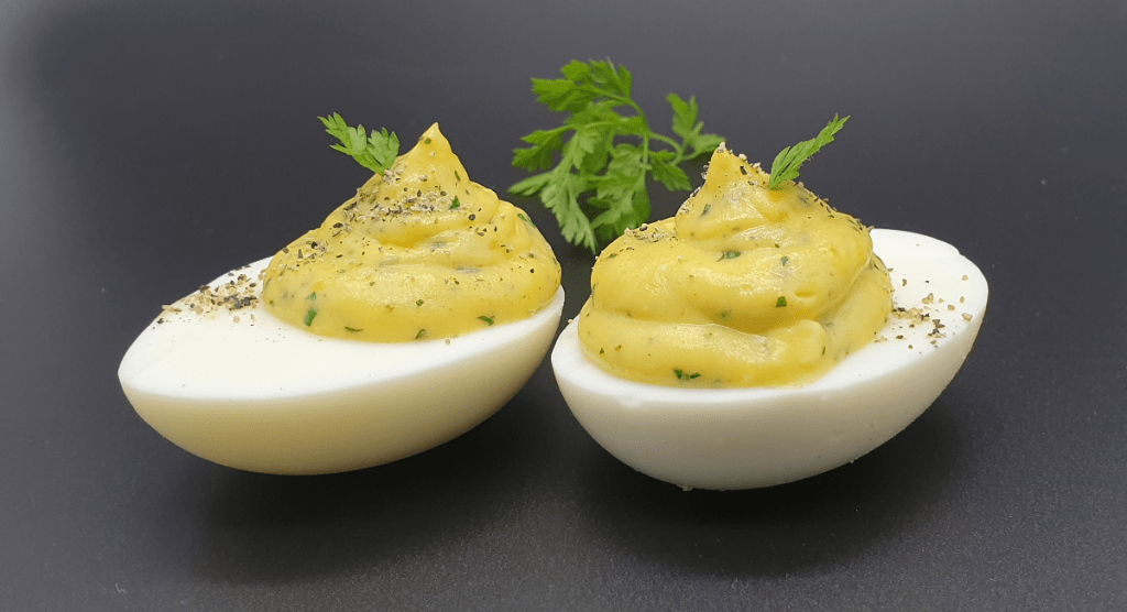 2 devilled eggs