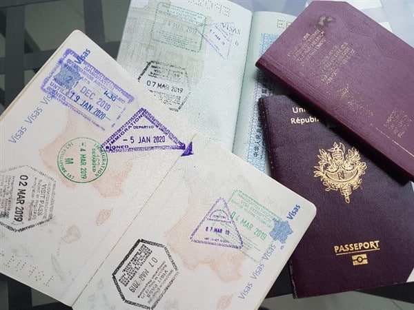 passports with travel stamps