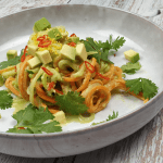 Veggie noodles with avocado-coconut sauce