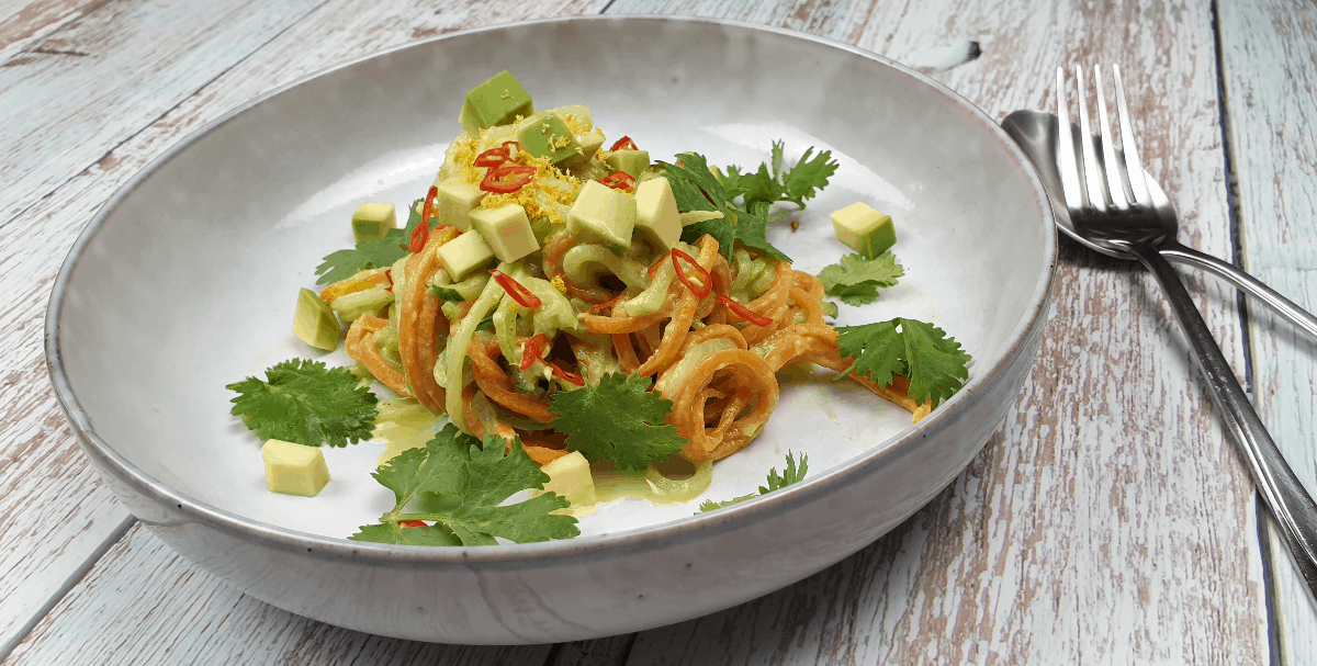 veggie noodles with avocado sauce