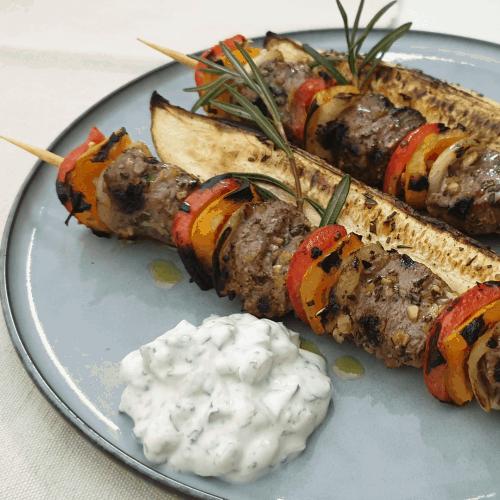 lamb skewers with tzaziki