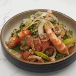 Thai style Grapefruit salad with king prawns