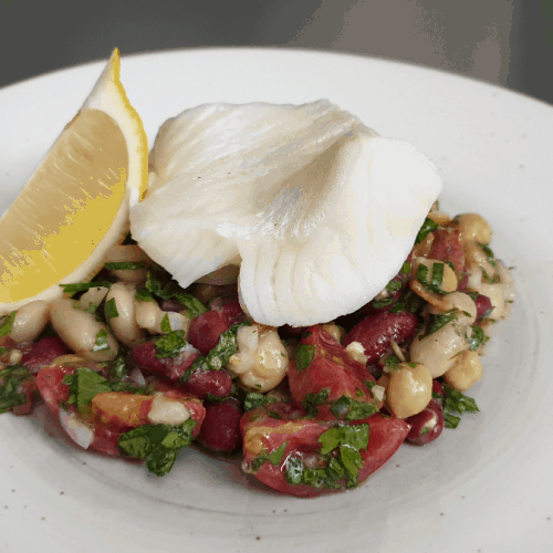 bean salad with snow fish