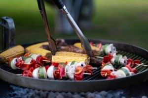 grill with meat