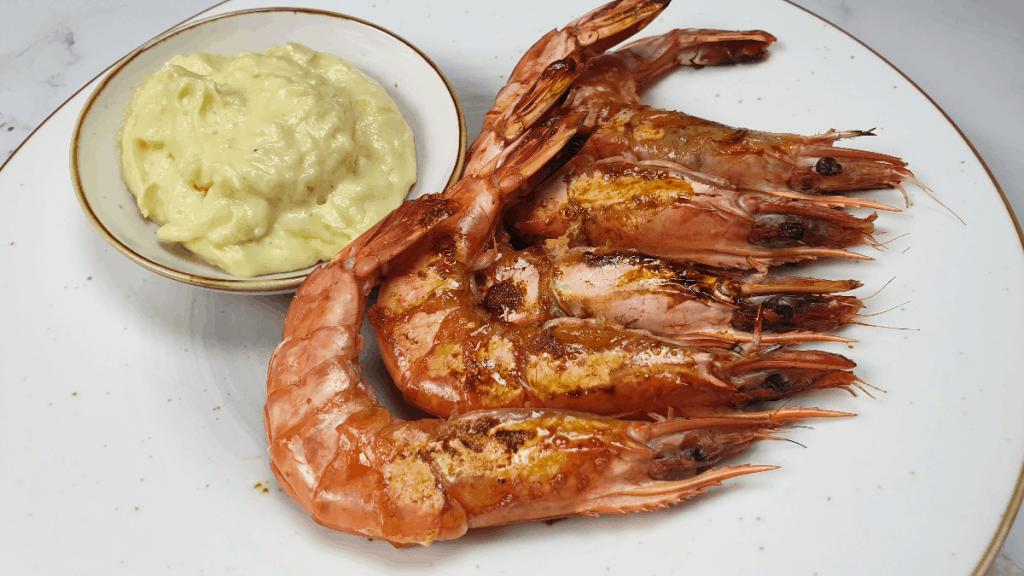 grilled prawns with aïoli