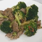 Stir fried veal strips with broccoli