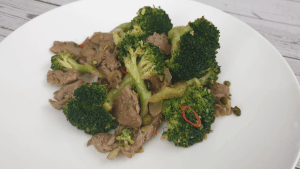 veal strips with brocolli