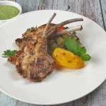 Grilled, juicy Mediterranean lamb chops