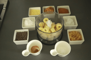 mix all ingredients for banana apple energy snack