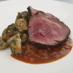 Pan roasted beef Chateaubriand with Arlequin sauce