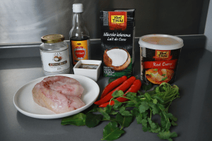 ingredients for choo choo monkfish with thai curries