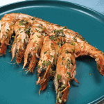 Grilled prawns with herbs