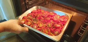 tomato on tray in the oven
